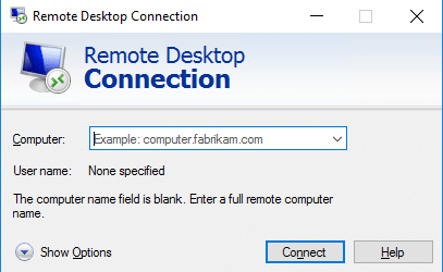 RDP login window